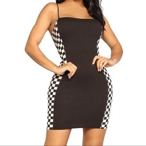 Black Checkerboard Trim Dress